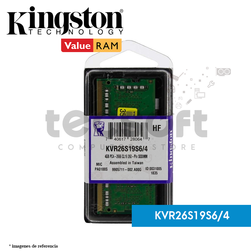 MEMORIA KINGSTON KVR26S19S6/4, 4GB, DDR4, SO-DIMM, 2666 MHZ, CL19, 1.2V.