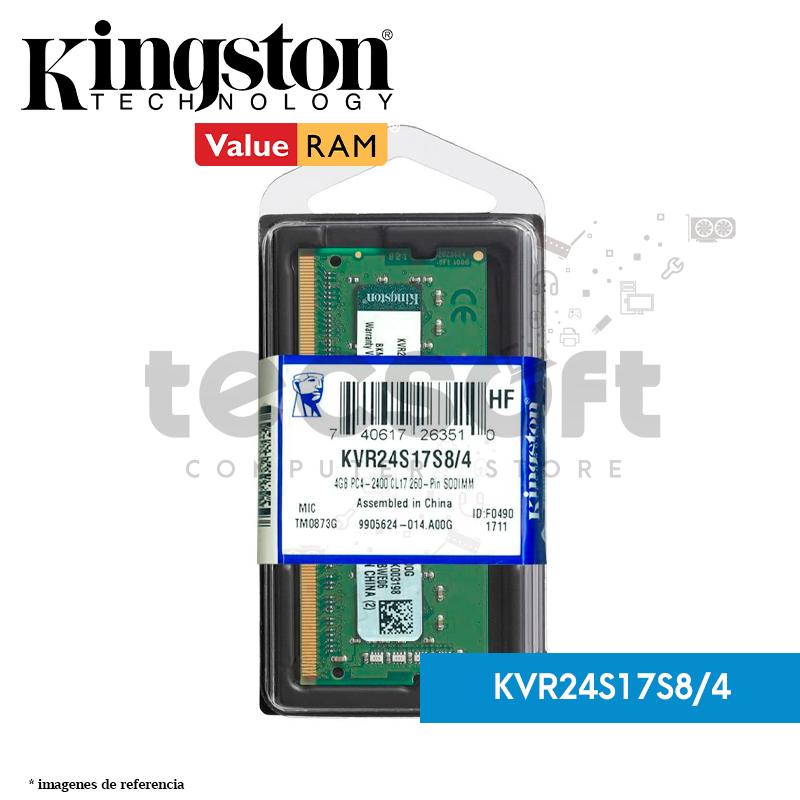Memoria RAM, 4GB 2400MHz DDR4 Non-ECC CL17 SODIMM 1Rx8 (KVR24S17S8/4)