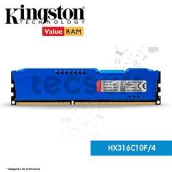 Memoria RAM, 4GB 1600MHz DDR3 CL10 DIMM HyperX FURY Blue (HX316C10F/4)