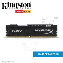 Memoria Ram, 8GB 2666MHz DDR4 CL16 DIMM 1Rx8 HyperX FURY Black (HX426C16FB2/8)