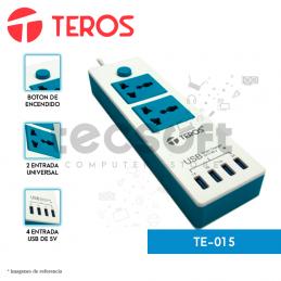 Supresor de pico TE-015 | 100-240V | 2 Tomas universal | 4 puertos usb