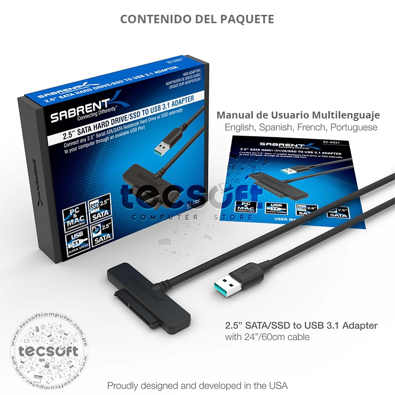 USB 3.1 (Type-A) to SSD / 2.5-Inch SATA Hard Drive Adapter