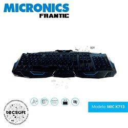 TECLADO MICRONICS GAMER FRANTIC MIC K713 USB, MULTIMEDIA